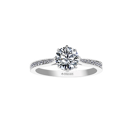 Round Cut Canadian Diamond 8 Claw Engagement Ring