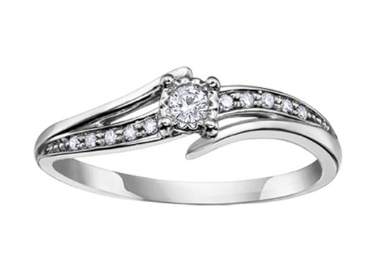 White Gold Brilliant Cut Diamond Bypass Ring