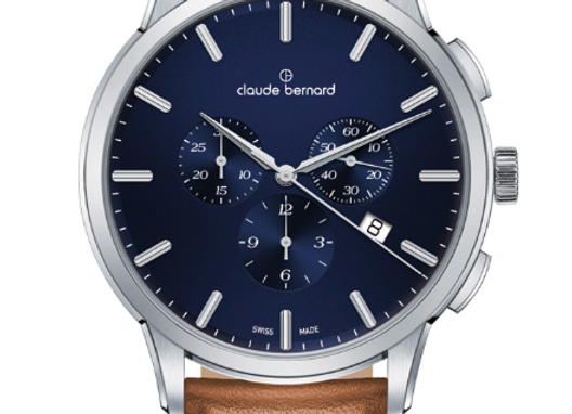 Brown Leather Navy Dial Watch by Claude Bernard