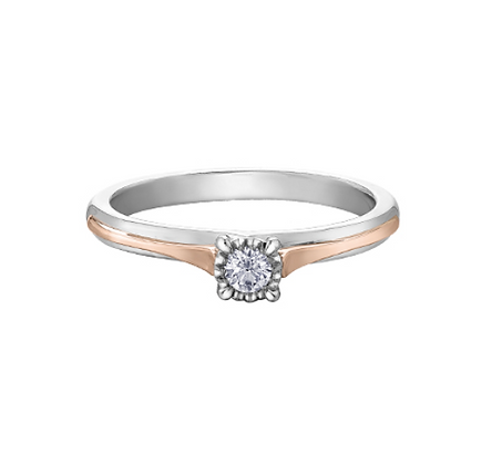 White & Rose Gold Round Diamond Solitaire Ring