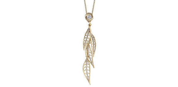 Yellow Gold & Diamond Dangling Feather Pendant