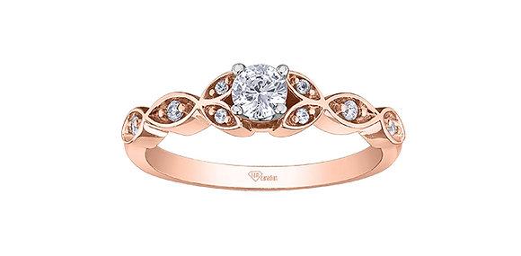 Round Cut Diamond Promise Ring Rose Gold