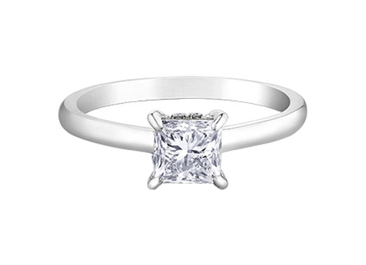 Canadian Princess Cut Diamond Circle of Love Solitaire Engagement Ring