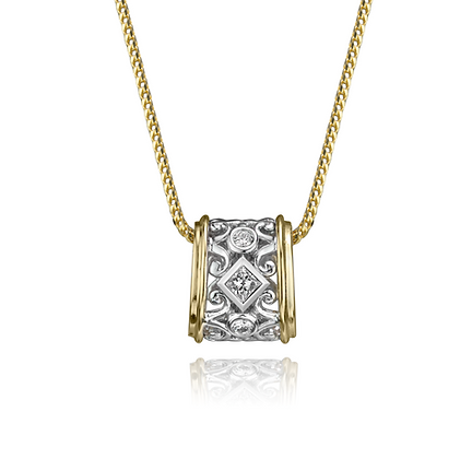Two Tone Gold Filigree Diamond Pendant