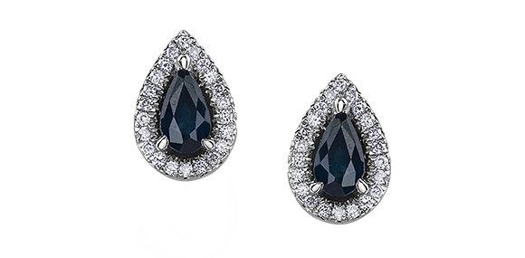 Pear Cut Sapphire Earrings With Diamond Halo