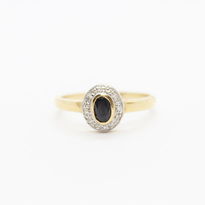 Yellow Gold Oval Sapphire Ring With Diamond Halo