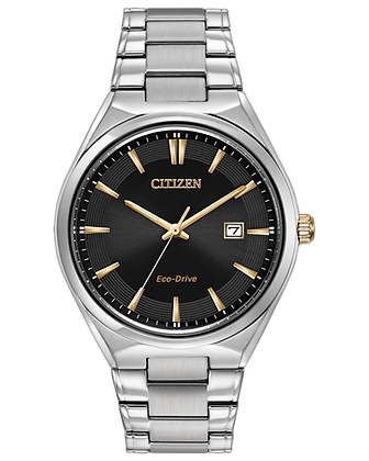 Citizen - Black Dial and Gold Accents with Silver Metal Band