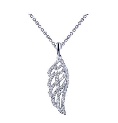 Simulated Diamond Angel Wing Pendant