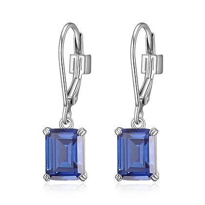 Silver Emerald Cut Tanzanite Inspired Cubic Zirconia Earrings