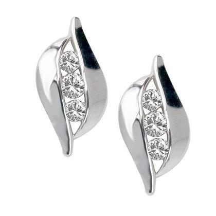 Elegant Trinity Diamond Stud Earrings