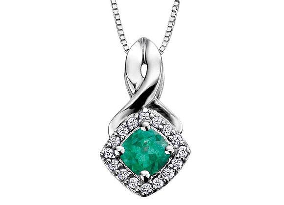Emerald Cushion Cut Pendant