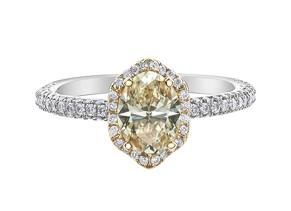 Oval Yellow Diamond Engagement Ring With Halo