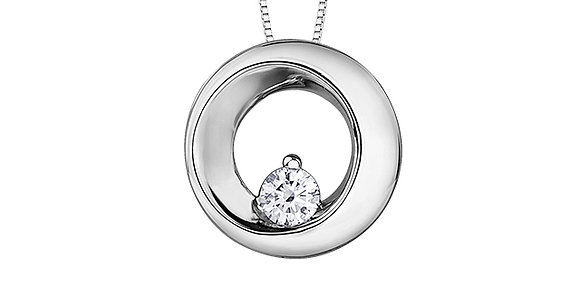 White Gold Circle Pendant with Canadian Diamond