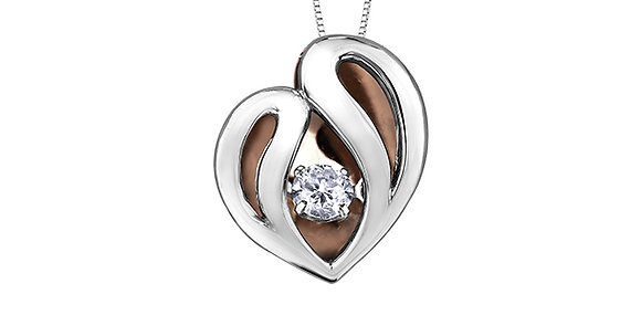 Two Tone Gold Heart & Canadian Diamond Pendant