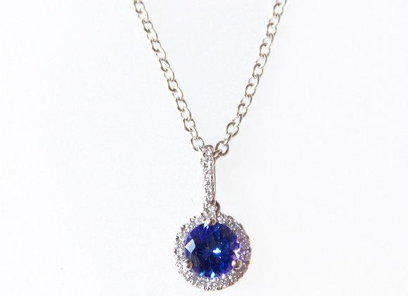 Round Tanzanite & Diamond Halo Pendant