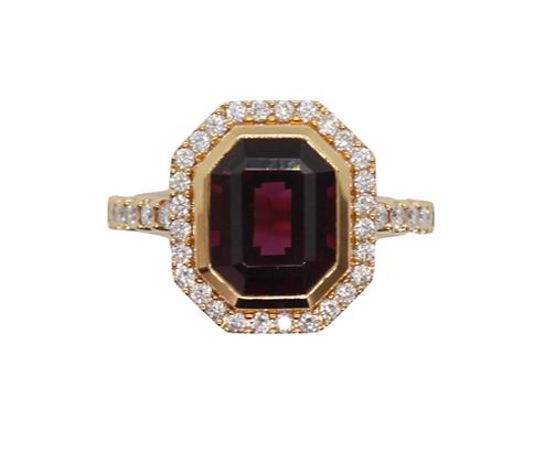 Emerald Cut Garnet & Diamond Halo Ring