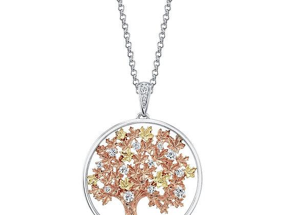 Seasons Tree Pendant with Diamond Accents