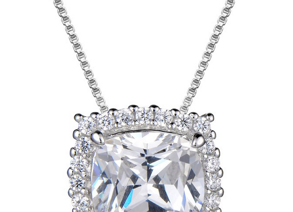 Cushion Cut Cubic Zirconia Pendant With Halo