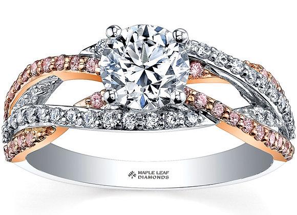 Brilliant Cut Interwoven Pink & White Diamond Ring