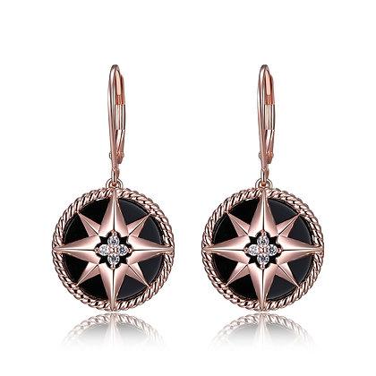 Rose Gold Plated Black Compass Drop Earrings