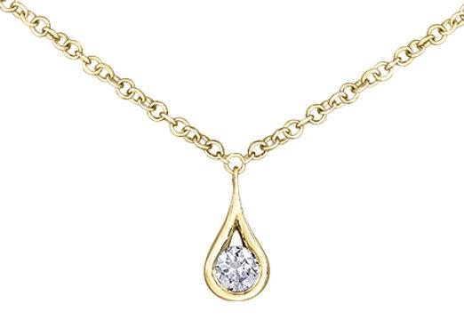 Teardrop Round Diamond Pendant