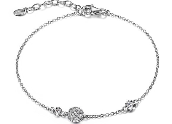Silver Bracelet With Round Cubic Accents