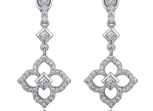 Cubic Zirconia Flower Design Drop Earrings