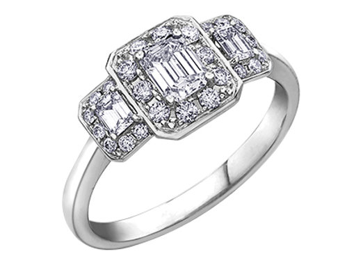 Emerald Cut Trinity HaloEngagement Ring