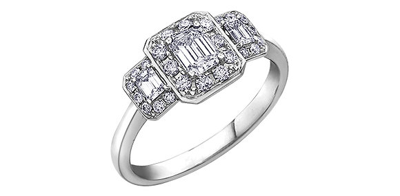 Emerald Cut Trinity HaloEngagement Ring
