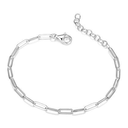 """Silver Plain Paper Clip Link Chain Bracelet (7"""")"""