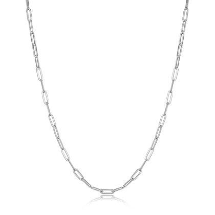 "Silver Plain Paper Clip Link Chain (36"")"