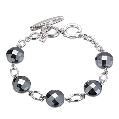 Silver Link Chain & Black Agate Bracelet