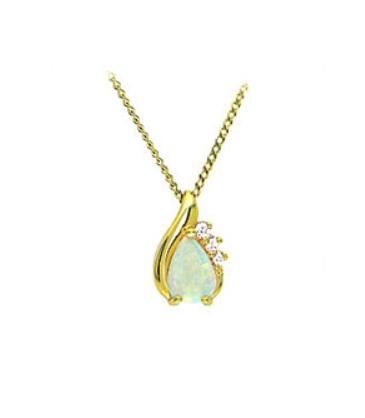 Yellow Gold Pear Cut Opal Pendant