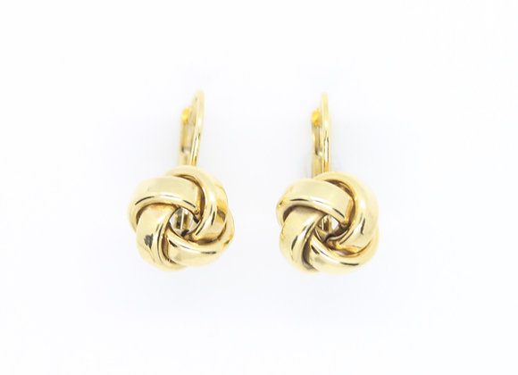 Thick Yellow Gold Knot Earrings