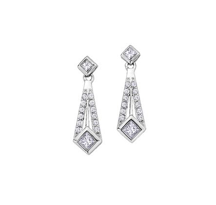 Princess Cut Tie Shaped Diamond Earrings