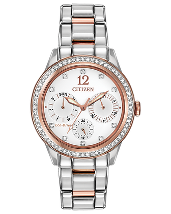 Citizen - White and Rose Dial with Two Tone Metal Band