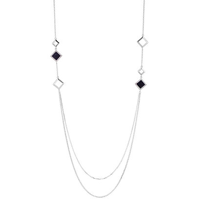 Silver Long Necklace With Blue Speckled Square Accents