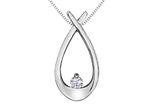 White Gold Large Open Pear & Canadian Diamond Pendant
