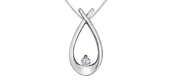 White Gold Large Open Pear & Canadian Diamond Pendant