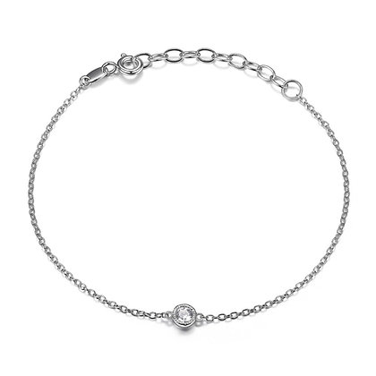 Silver Link Bracelet With Round Cubic Zirconia