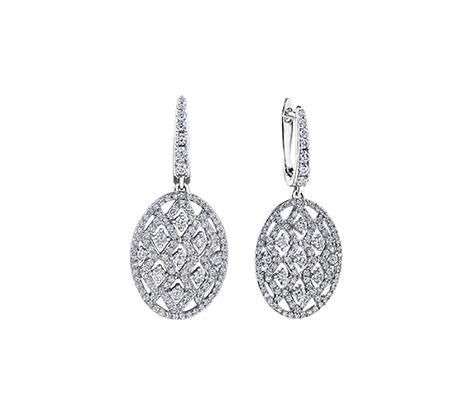 Oval Lattice Diamond Drop Earrings