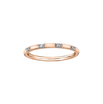 Rose Gold Thin Diamond Stackable Ring