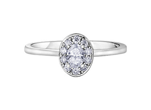 Oval Cut Single Halo Diamond Ring
