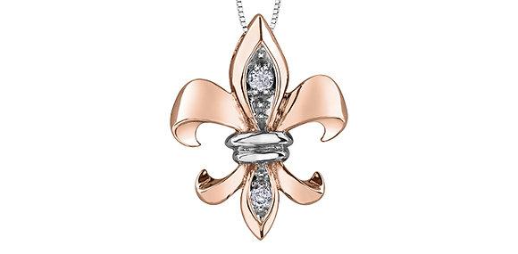 Rose Gold Fleur-De-Lis Canadian Diamond Pendant
