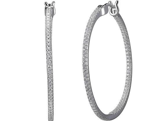 Silver Cubic Zirconia Round Hoops