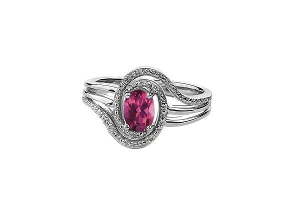 Silver Pink Topaz & Diamond Ring