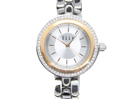 ELLE Stainless Steel Link Watch With Silver Dial