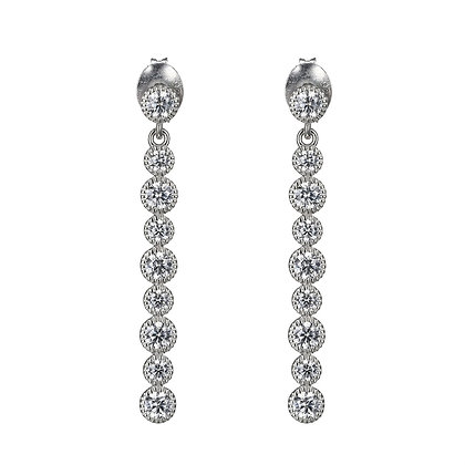 Round Cubic Zirconia Cascading Stud Earrings