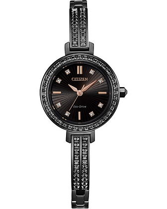 Citizen - Black Dial with Stones and Black Band with Stones