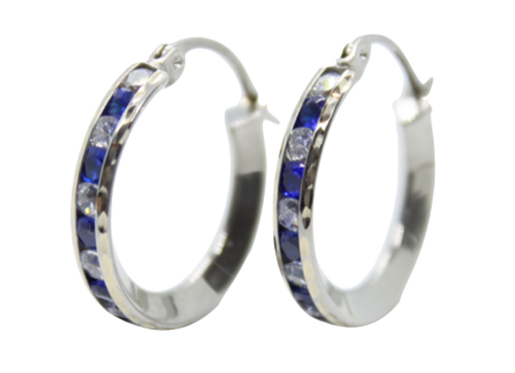 Blue & White Cubic Zirconia Hoops